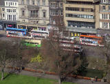 View from Edinburgh Castle  -  Buses in Princes Street between Castle Street and Frederick Street  -  2007