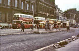 Buses heading west along Princes Street  -  June 1956