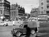 Traffic in Central Edinburgh while the tram lines were being lifted in 1955  -  West End