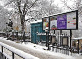 Statue, Police Box and Notice Board, in the snow, at the West End of Princes Street  -  December 2010