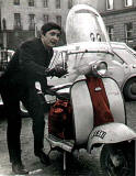 Jim O'Meara and his Lambretta scooter in St Andrew Square,  early-1960s