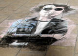 Picture drawn  in chalk by Oscarn Ibanet  on the pavement outside Register House at the East End of Princes Street  -  John Lennon, July 2013