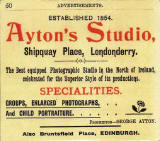 Advert for Ayton Studio, Shipquay Place, Londonderry